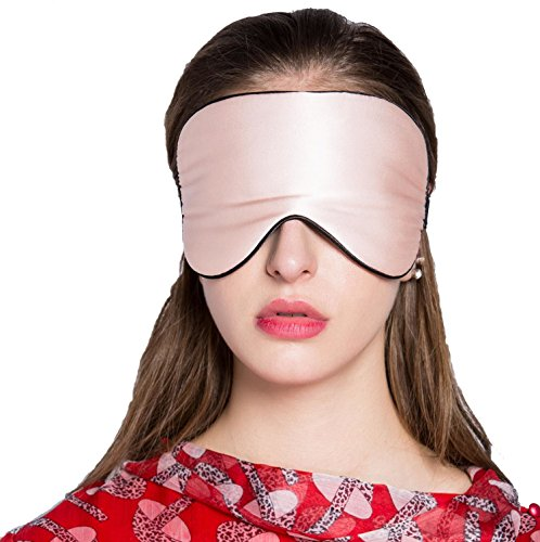 Adbama Silk Sleep Mask with Adjustable Strap - Champagne (Silk Eye Mask)