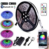 Music LED Strip Lights, 5M/16.54ft LED Lights Strip Bluetooth Smart Phone APP & RF Remote Controlled RGB LED Strip Rope Lights Waterproof LED Strip Lights Kits Support iPhone Android, Rainbow Colors