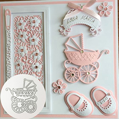 Shoresu Metal Cutting Dies Baby carriage Carban Steel Stencil DIY Scrapbook paper craft card album embossing stencils template punch 7.2x8 cm/2.83