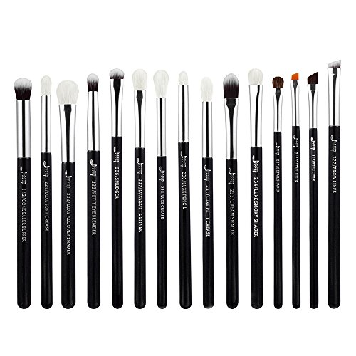 (Jessup 15Pcs Professional Makeup Brushes Set Make up Brush Tools kit Cosmetics Tools Eye Liner Shader Wood Handle Natural-synthetic Hair Brushes Pearl Black/Silver T177)
