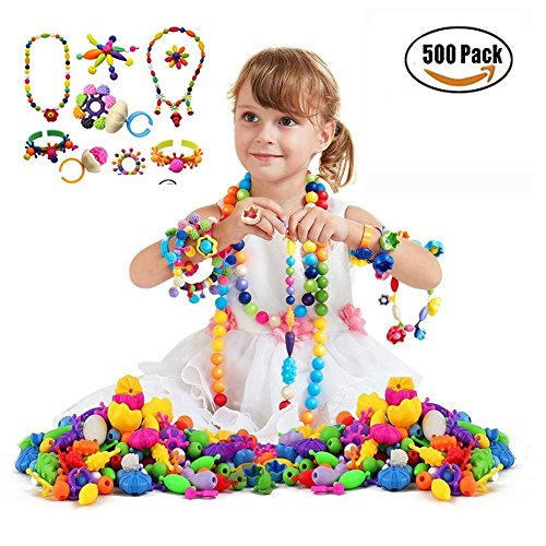 500 Pcs Pop Beads Set Snap Beads with Storage Box, DIY Jewelry Making Kit for Headwear Necklace Earrings Bracelets Rings Art Crafts,Birthday&New Year Gifts Toys for Kids Toddlers Girls