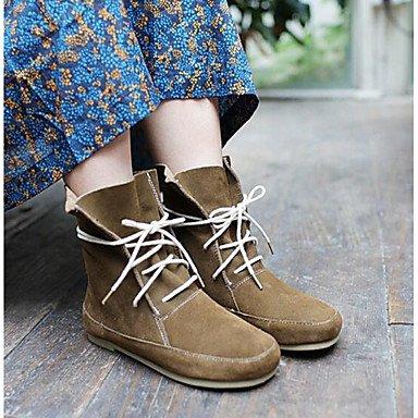 RTRY Zapatos De Mujer Cuero Nappa Moda Otoño Invierno Pelusas Forro Botines Botas Botas/Botines De Casual Beige Marrón US7.5 / EU38 / UK5.5 / CN38