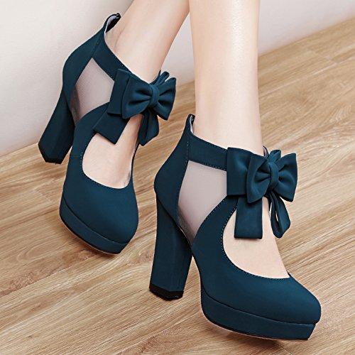 Sandalias Con Verano Otoño Yukun Mujer Zapatos Y De Moda Blue Pescado Grueso Alto B Primavera Tacón Boca 1vOCSqx4