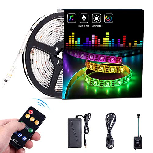 ELlight Dream Color Music LED Strip Lights, 5050 12V 150 LED Built-in IC, 16.4ft Sync to Music Flexible RGB Rope Light with RF Remote for Indoor Home Bedroom Holiday Party ()