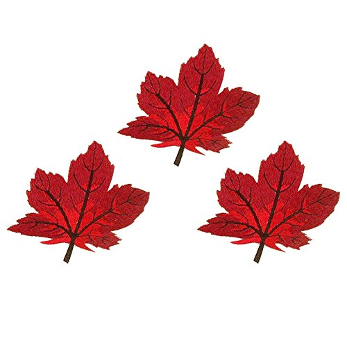 XUNHUI Cute Maple Leaf Sticker Garment Clothing Applique Accessory Fabric Sticker Patches Embroidered Iron on Patch Red 3 Pieces (Maple Leaf Applique)