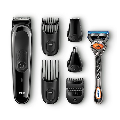 Braun MGK3060 8-in-1 All-in-One Beard Trimmer for Men, Cordless Hair Clipper, Black/Grey, with 6 Attachments and Gillette ProGlide Razor (Best Braun Shaver For Sensitive Skin)