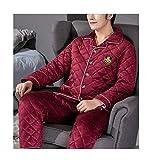 Femaroly Men Winter Pajamas Set Thick Three-Layer Quilted Fleece Flannel Loungewear Pyjamas Red M