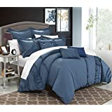 Chic Home 8 Piece Lunar New Linen Fabric Collection Oversized and Overfilled Embroidered Geometric Pleated Ruffled Comforter Set, King, Blue