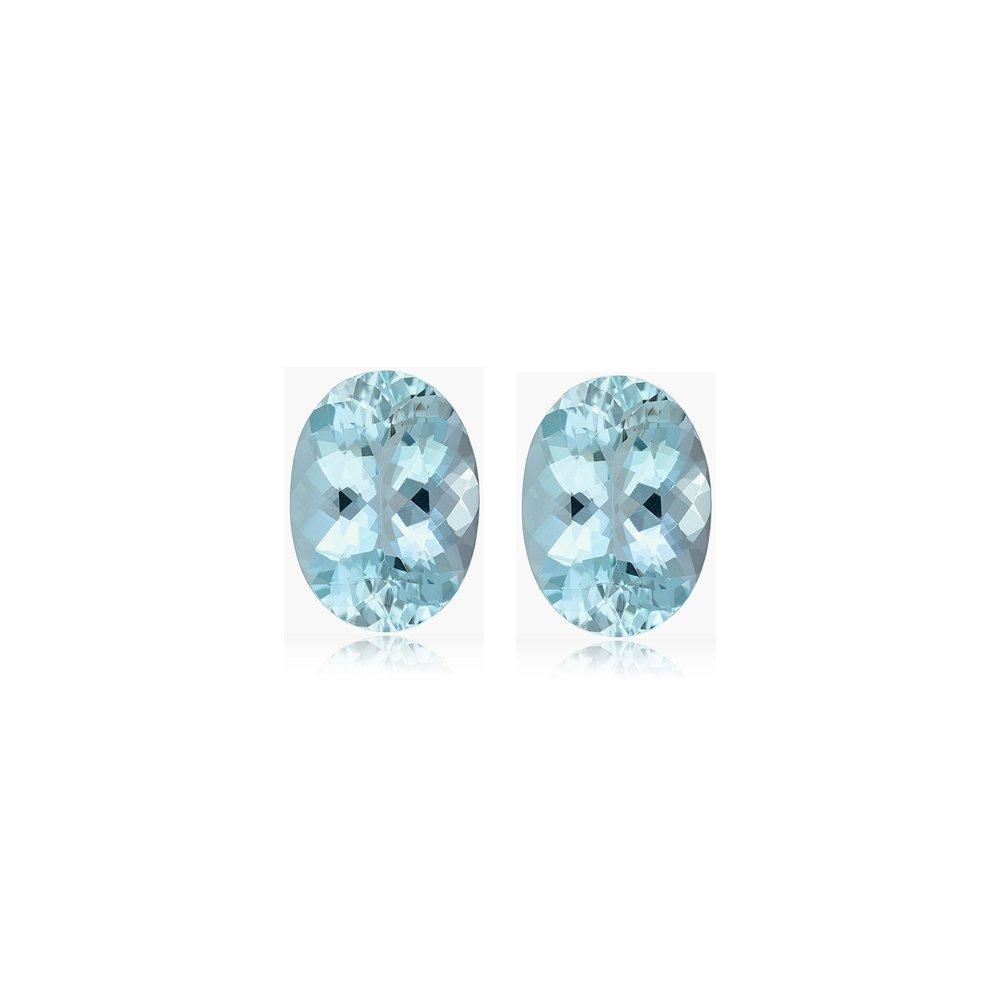 Mysticdrop 1.08-1.43 Cts of 7.0x5.0 mm AA+ Oval Cut Aquamarine (2 pcs) Loose Gemstones