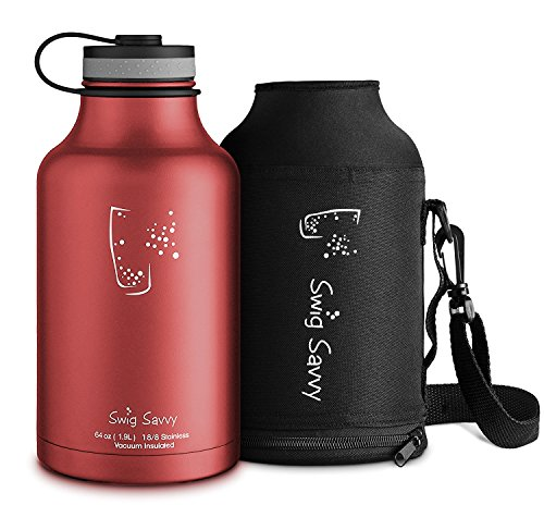 SWIG SAVVY Stainless Steel Water Bottle & Beer Growler - with Insulated Double Wall & Wide Mouth Design for Hot & Cold Drinks - Reusable Sports Container with Carrying Sleeve Pouch - 64oz | Red