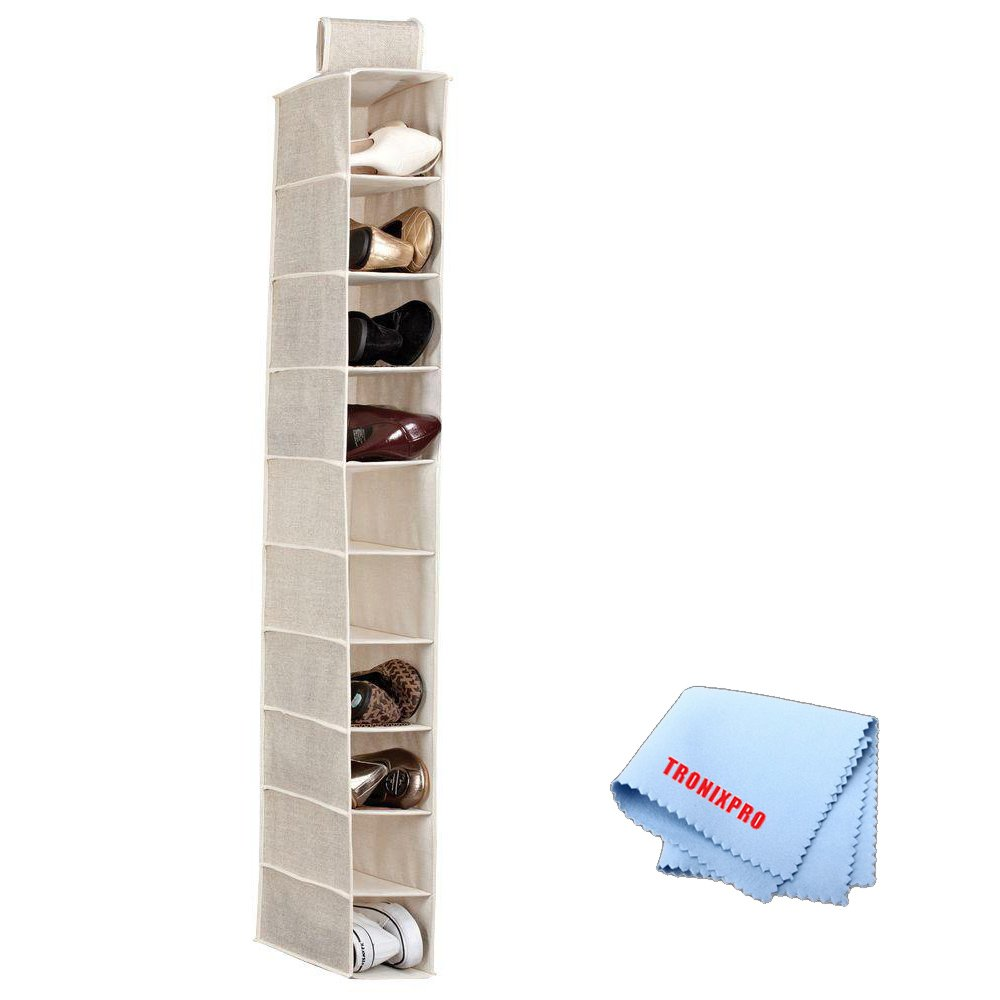 10 Shelf Hanging Closet Organizer in Beige + Tronix Microfiber Cleaning Cloth Tronixpro 10shelforganizer2
