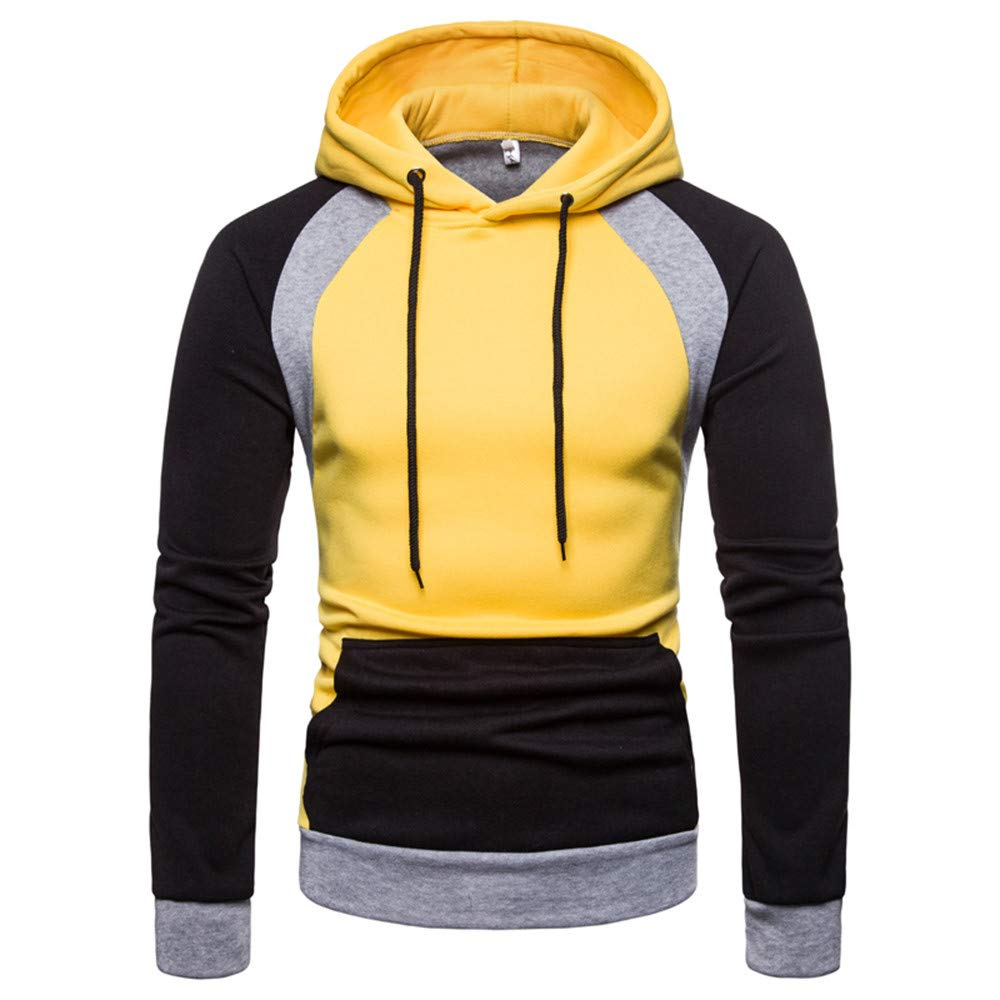 Corriee Fashion Tops for Men 2018 Autumn Long Sleeve Cotton Patchwork Hoodie Classic Party Hooded Pullover Blouse