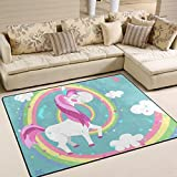 Naanle Rainbow Unicorn Area Rug 5'x7′, Cute Unicorn Polyester Area Rug Mat for Living Dining Dorm Room Bedroom Home Decorative For Sale