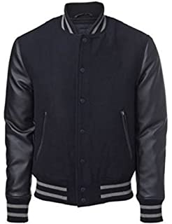 Windhound Original College Jacke schwarz mit schwarzen Echtleder Ärmel XXL 09cdaeedaa