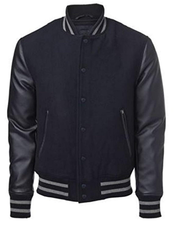 Original Windhound College Jacke schwarz mit schwarzen Echtleder ?rmel XXXXL