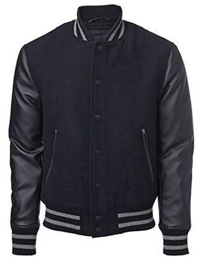 Original Windhound College Jacke schwarz mit schwarzen Echtleder Ärmel XXL bac37e8c6f