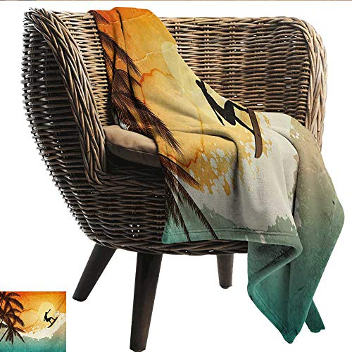 EwaskyOnline Grunge Travel Blanket Illustration of Tropical Island Surfer on Sea Waves and Palms at Sunset Recliner Throw,Couch Throw, Couch wrap 72