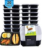 Image of Meal Prep Containers for Food Storage Divided 3 Compartment with Lids,Portion Control Bento Box Lunch Box Set-Reusable,Stackable,Microwave,Dishwasher and Freezer Safe,20 Sporks