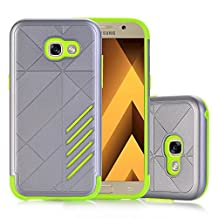MOONCASE Galaxy A5 2017 Case Hybrid Armor Tough Rugged [Anti Scratch] Dual Layer TPU +PC Frame Protective Case Cover for Samsung Galaxy A5 2017 Grey Green