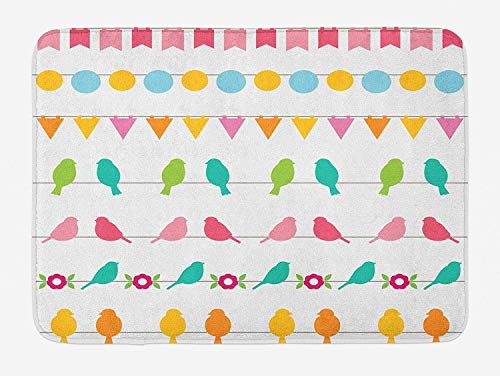 Birds on a Wire Bath Mat, Bunting and Birds in Lively Colors on Plain Background Celebration Theme, Plush Bathroom Decor Mat with Non Slip Backing, 23.6 W X 15.7 W ()