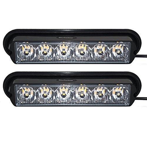 linchview 1Paire Front Blitzer LED 6W 12V/24V Voiture Leuchten d'avertissement flash Feu de position Cargo Truck stroboscopique Leuchten avec 16Motif Flash (6LED 6W Lampe 1LED perles/