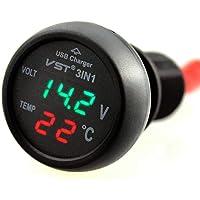 Autovoltmeter, 3-in-1, 12-24 V voltmeter, thermometer, autolader, digitale sigarettenaansteker, USB-oplader voor…