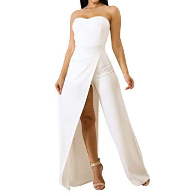 702 - Asymmetric Split Leg Strapless Jumpsuit: Clothing