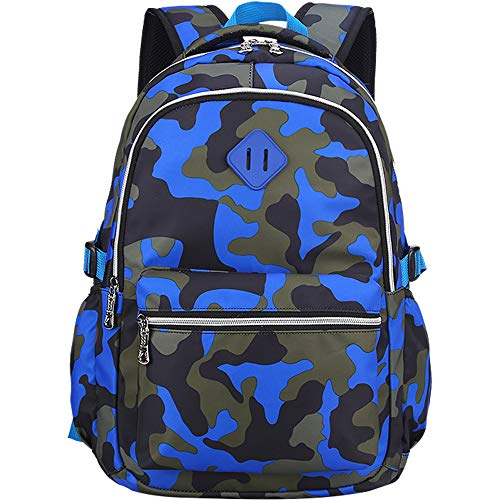 OuTrade School Backpack, Great for School, Casual Daypack Travel Outdoor Camouflage Backpack for Boys and Girls-Camouflage Blue