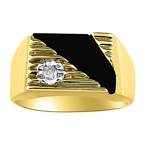 Black Onyx & Diamond Ring set in Solid 14K Yellow Gold. Natural Onyx Special Cut for this Ring.