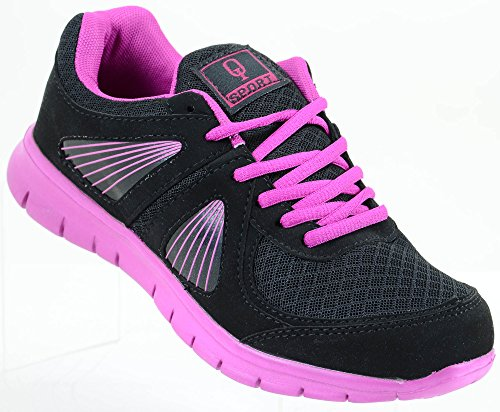 Low Bright Fuchsia Womens Top Flexible Lightweight Sneakers Fashion Lace Athletic Up xSSRfwE