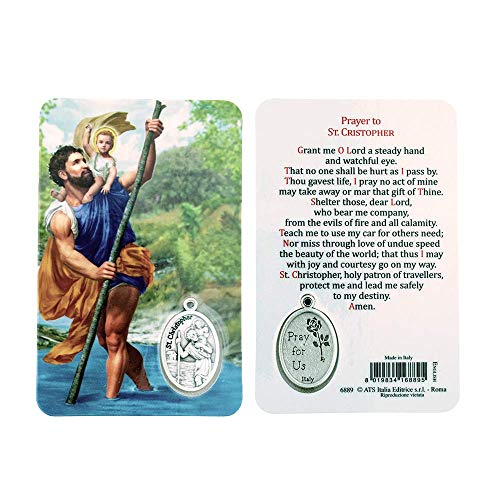(VILLAGE GIFT IMPORTERS Holy Figure Prayer Card with Medal | Saint Prayer and Medal | 8 Figures (St. Christopher) )