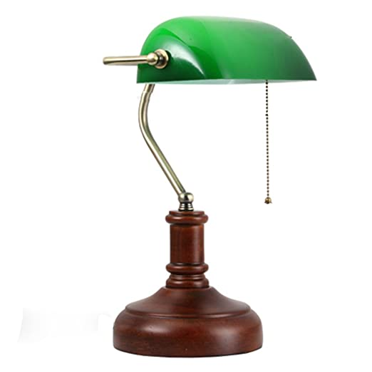 Health UK Table lamp Ajustable Retro Madera Cubierta Verde ...