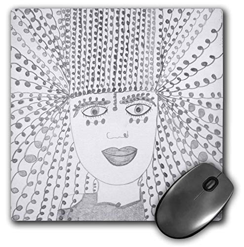 3dRose Jos Fauxtographee- Unsaturated Jos Faux Doll Hair - A Girl with a Nose Ring and Twirly Hair in Black and White - Mousepad (mp_293700_1)
