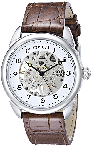 """Invicta Men's 17187SYB """"Specialty"""" Stainless Steel Mechanical Hand-Wind Watch With Brown Leather Band"""