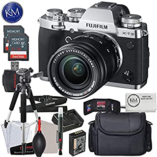 FUJIFILM X-T3 Mirrorless Digital Camera with 18-55mm Lens (Silver) w/Advanced Striker Kit