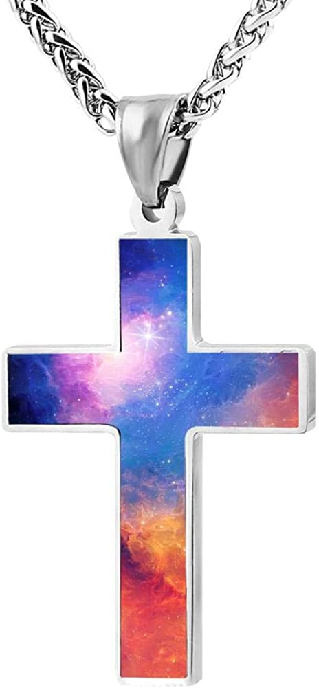 Quensk Beautiful Sky Cross Necklace Christ Necklace Pendant Cross Prayer Fashion Accessories for Men Women