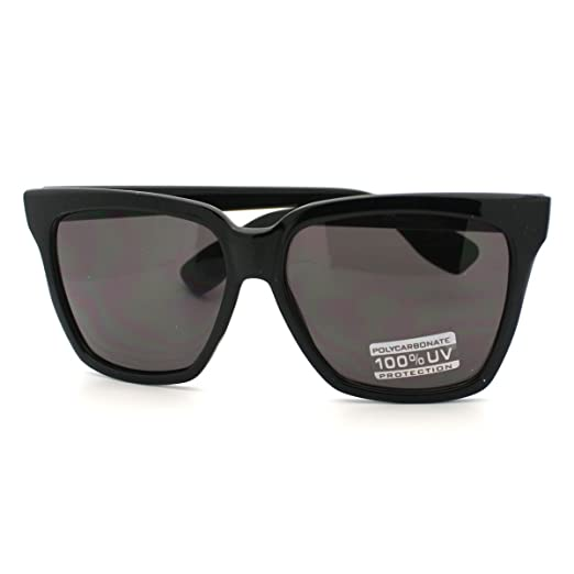 323cb5f09 Oversize Square Sunglasses Womens High Fashion Horn Rim Frame All Black