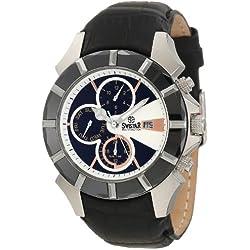 Swistar Men's 5651-1M Wh Swiss Quartz Stainless Steel Dual Time Dress Watch