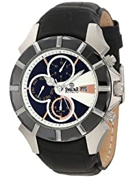 Swistar Men's 5651-1M Wh Swiss Quartz Stainless Steel Dual Time Dress Watch