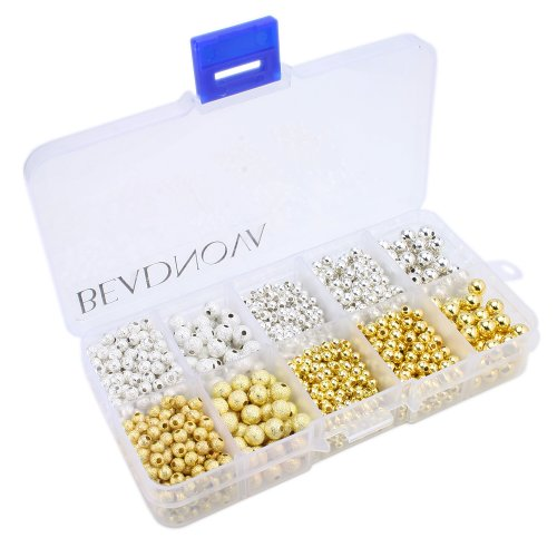 BEADNOVA 1600pcs Silver Plated Gold Plated Stardust Beads Smooth Round Loose Beads 3mm 4mm 6mm with Container Box Jewelry Making