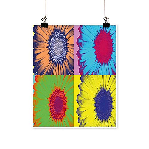 - Artwork for Office Decorations Pop Inspired Colorful Kitschy Daisy Hard Edged W Tern Canvas Living Room,24