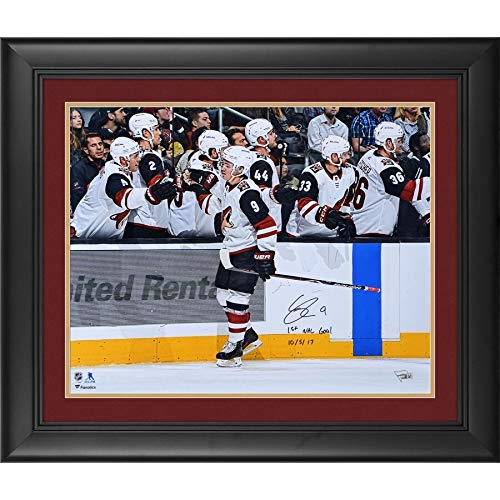Clayton Keller Arizona Coyotes FAN Authentic Framed Autographed Signed 16x20 Handshake Line Photograph With 1St Nhl Goal 10/5/17 Inscription - Limited Edition Of 9 - Certified -