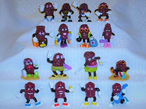 """California Raisins, Set of Sixteen (16), Each One is Different, 2"""" to 2 1/2"""" Tall"""