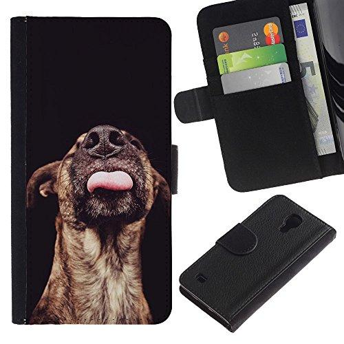 Be Good Phone Accessory // Caso del tirón Billetera de Cuero Titular de la tarjeta Carcasa Funda de Protección para Samsung Galaxy S4 IV I9500 // Australian Cattle Dog Black Mutt