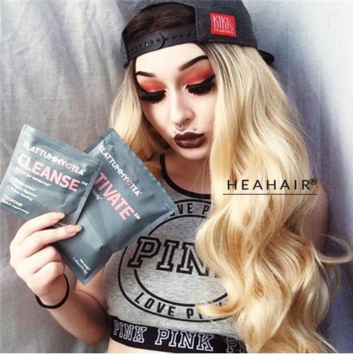 [Heahair Hand-tied Ombre Long Wavy Wig Heat Resistent Synthetic Lace Front wig (Black to Blonde)] (Fancy Dress Hollywood Themed Costumes)