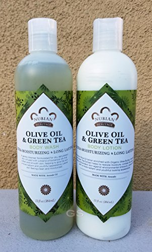 Olive & Green Tea Lotion & Body Wash Set.. by Nubian 13oz each (2 Bottles) ... iwgl