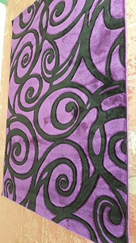 Contempo Modern Area Rug Purple & Black Swirl Design #341 -