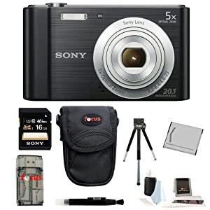 Sony Cyber-shot DSC-W800 DSCW800/B DSCW800B Point and Shoot Digital Still Camera (Black) + Camera Case + Sony 16GB Memory Card + All in One High Speed Card Reader + Rechargeable Battery + Accessory Kit