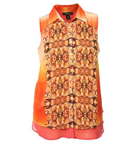 Style & Co Women's Plus Sleeveless Print Button Down Chiffon Blouse 0x Multi ()