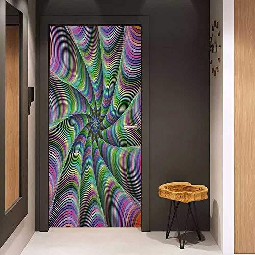 Onefzc Glass Door Sticker Decals Fractal Psychedelic Tentacles Converging into Flower Form Infinity Spinning Focus Design Door Mural Free Sticker W38.5 x H79 Green Purple